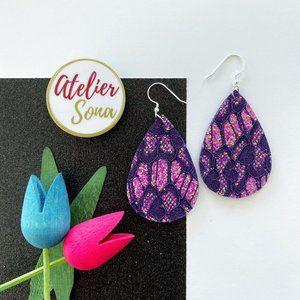 Lacy Tear Drop Earrings - Royal Purple